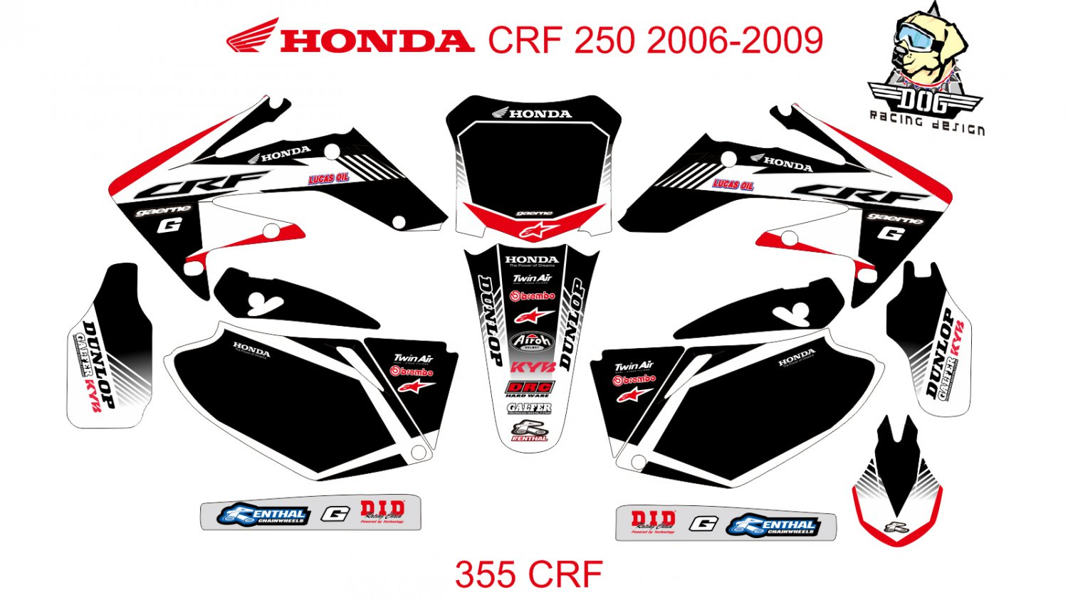 HONDA CRF 250 2006-2009 GRAPHIC DECAL KIT CODE.355