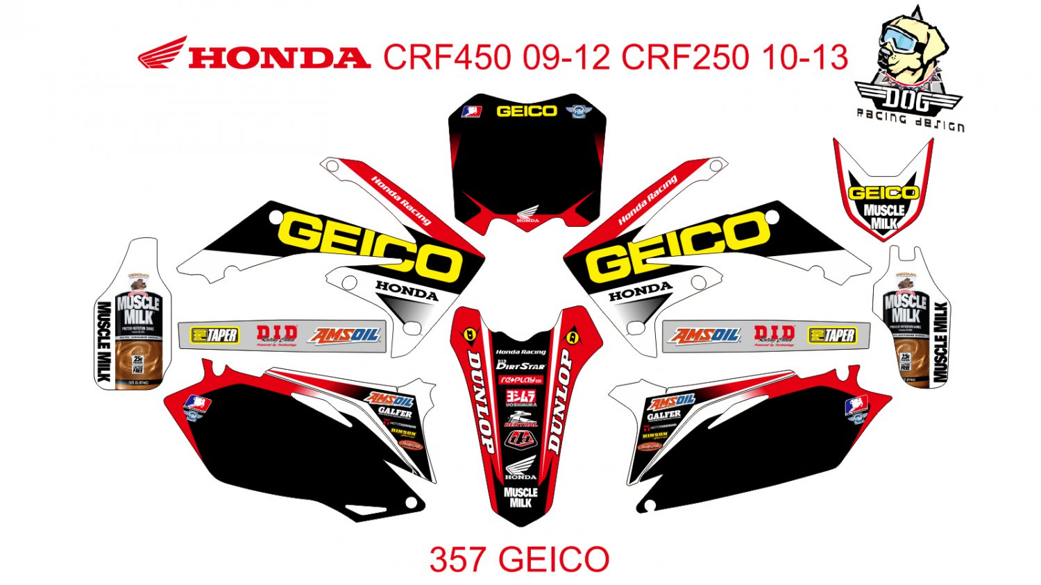 HONDA CRF250 2010-2013 CRF450 2009-2012 GRAPHIC DECAL KIT CODE.357