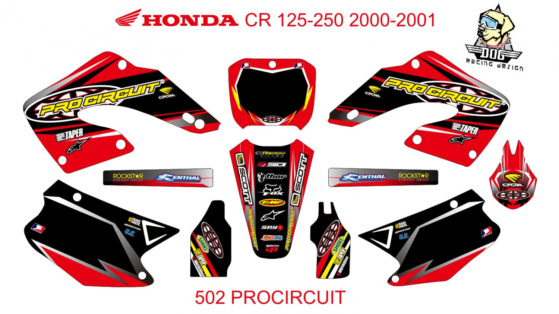 HONDA CR 125-250 2000-2001 GRAPHIC DECAL KIT CODE.502