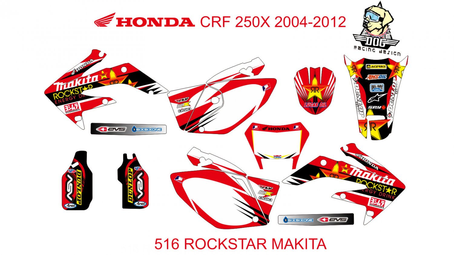 HONDA CRF 250X 2004-2012 GRAPHIC DECAL KIT CODE.516