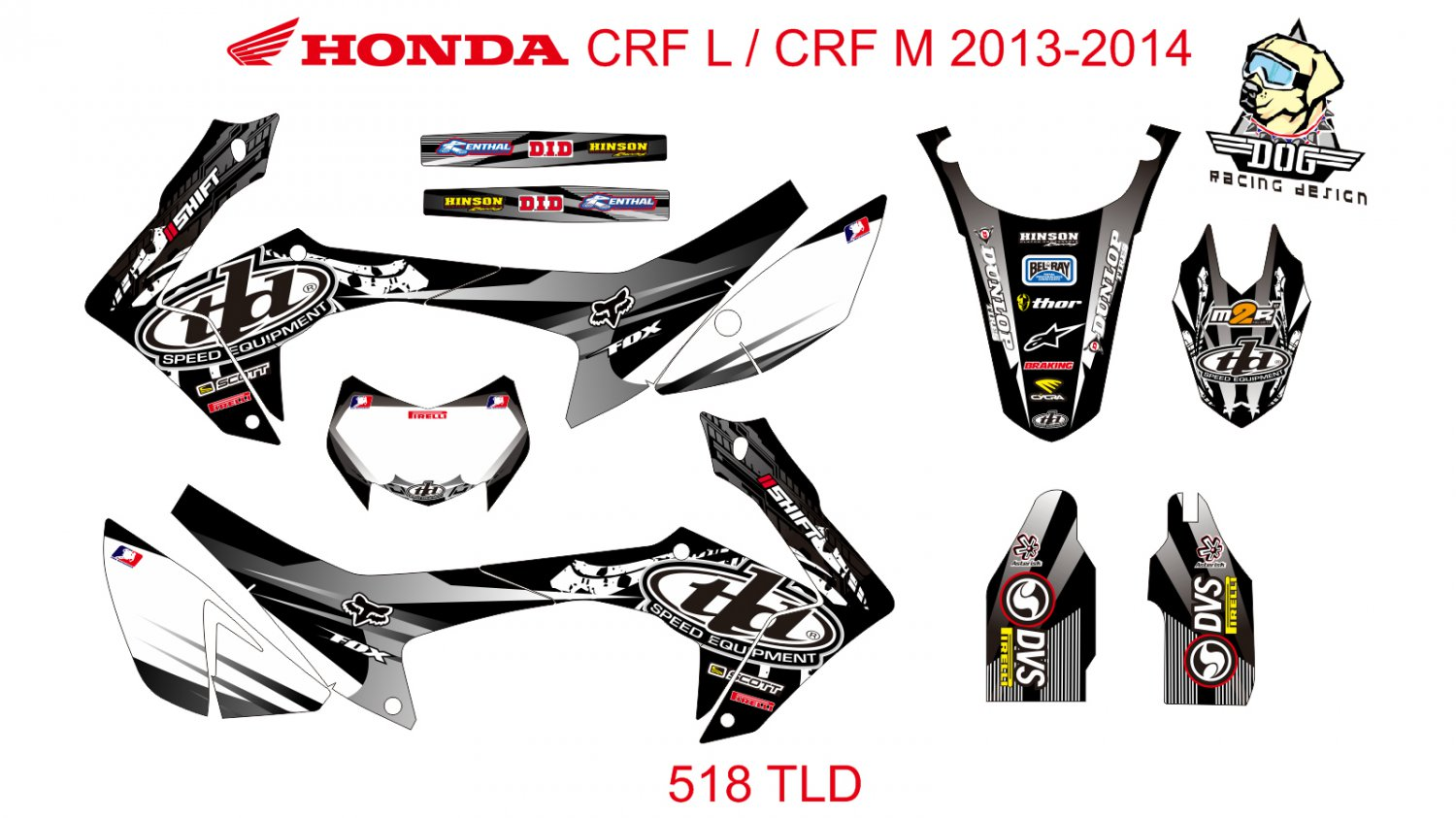 HONDA CRF L CRF M 2013-2014 GRAPHIC DECAL KIT CODE.518