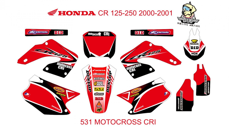 HONDA CR 125-250 2000-2001 GRAPHIC DECAL KIT CODE.531