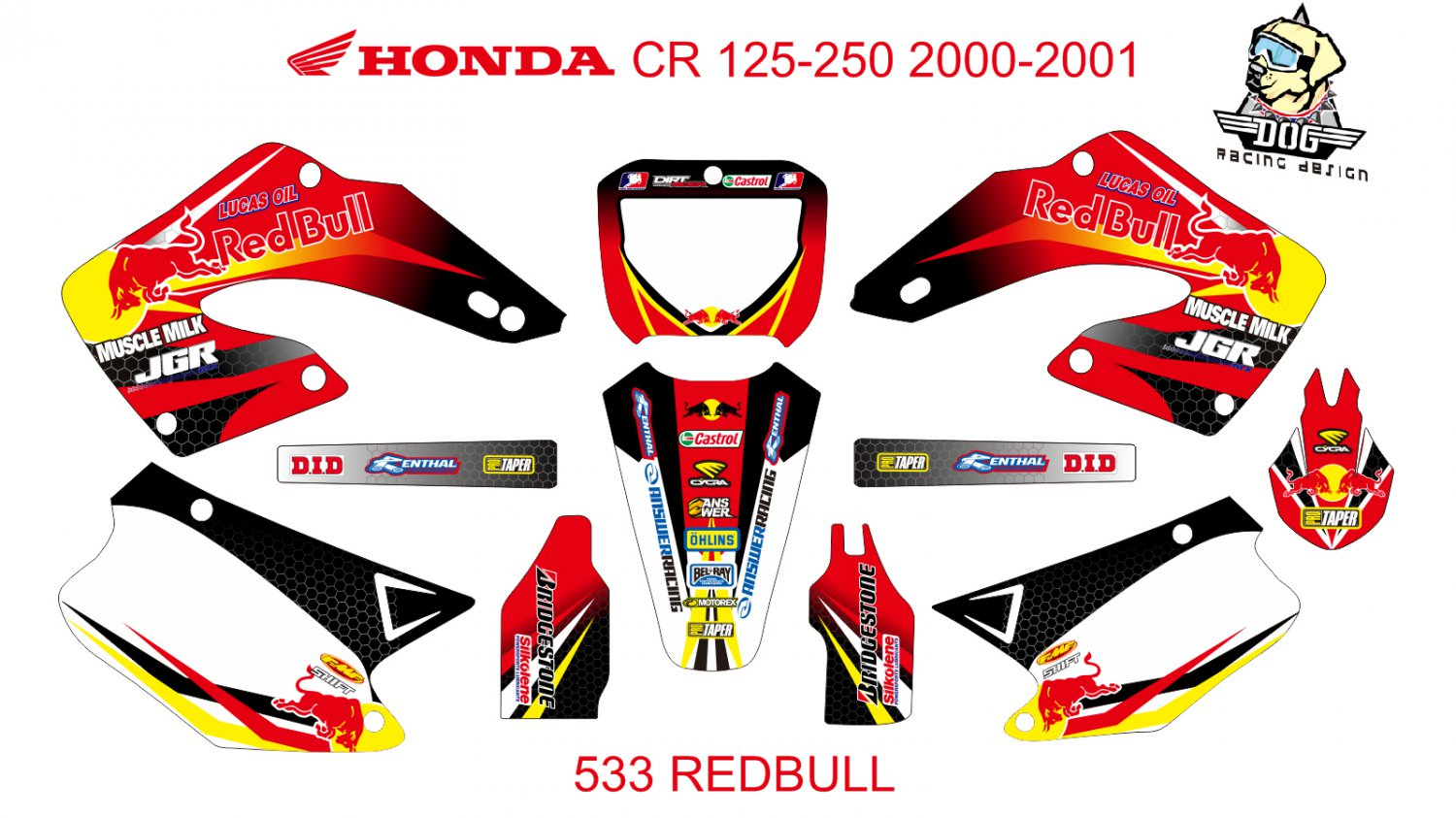 HONDA CR 125-250 2000-2001 GRAPHIC DECAL KIT CODE.533