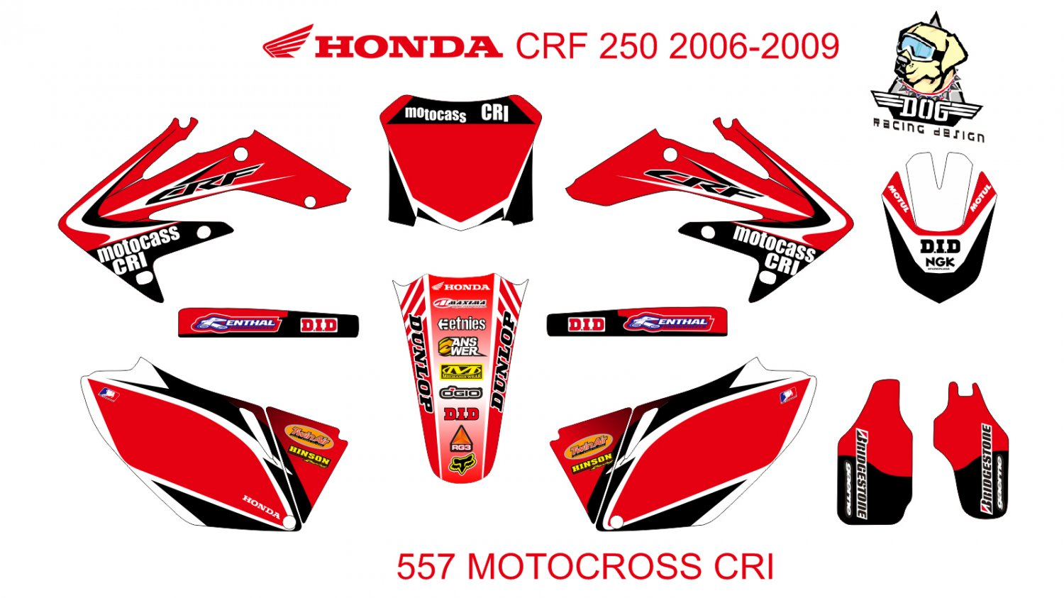 HONDA CRF 250 2006-2009 GRAPHIC DECAL KIT CODE.557