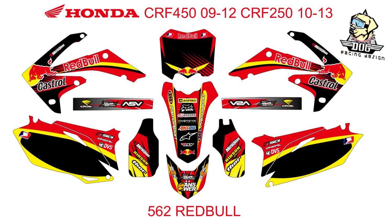 HONDA CRF 250 2010-2013 CRF 450 2009-2012 GRAPHIC DECAL KIT CODE.562