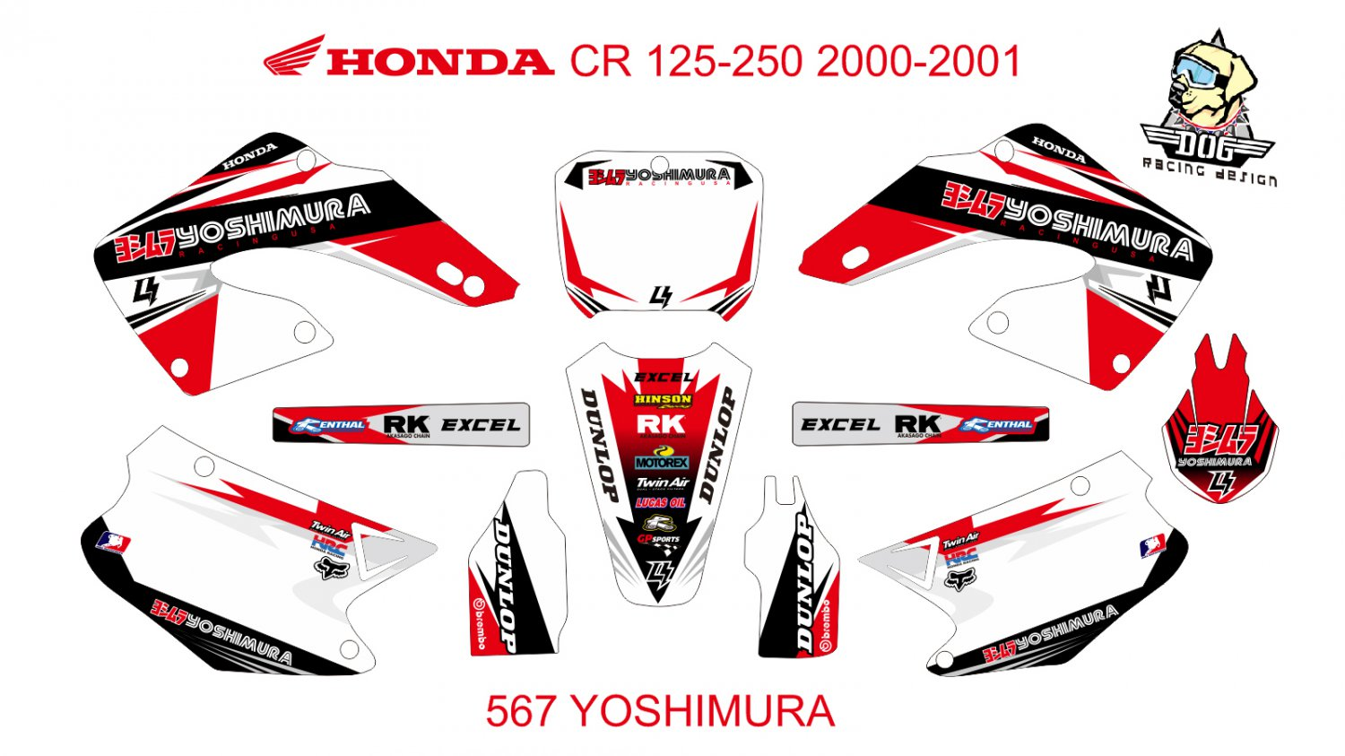 HONDA CR 125-250 2000-2001 GRAPHIC DECAL KIT CODE.567