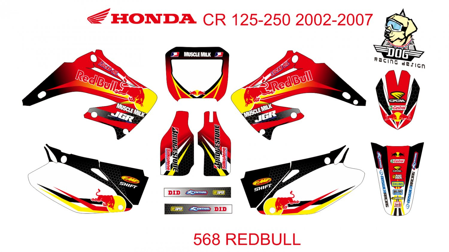 HONDA CR 125-250 2002-2007 GRAPHIC DECAL KIT CODE.568