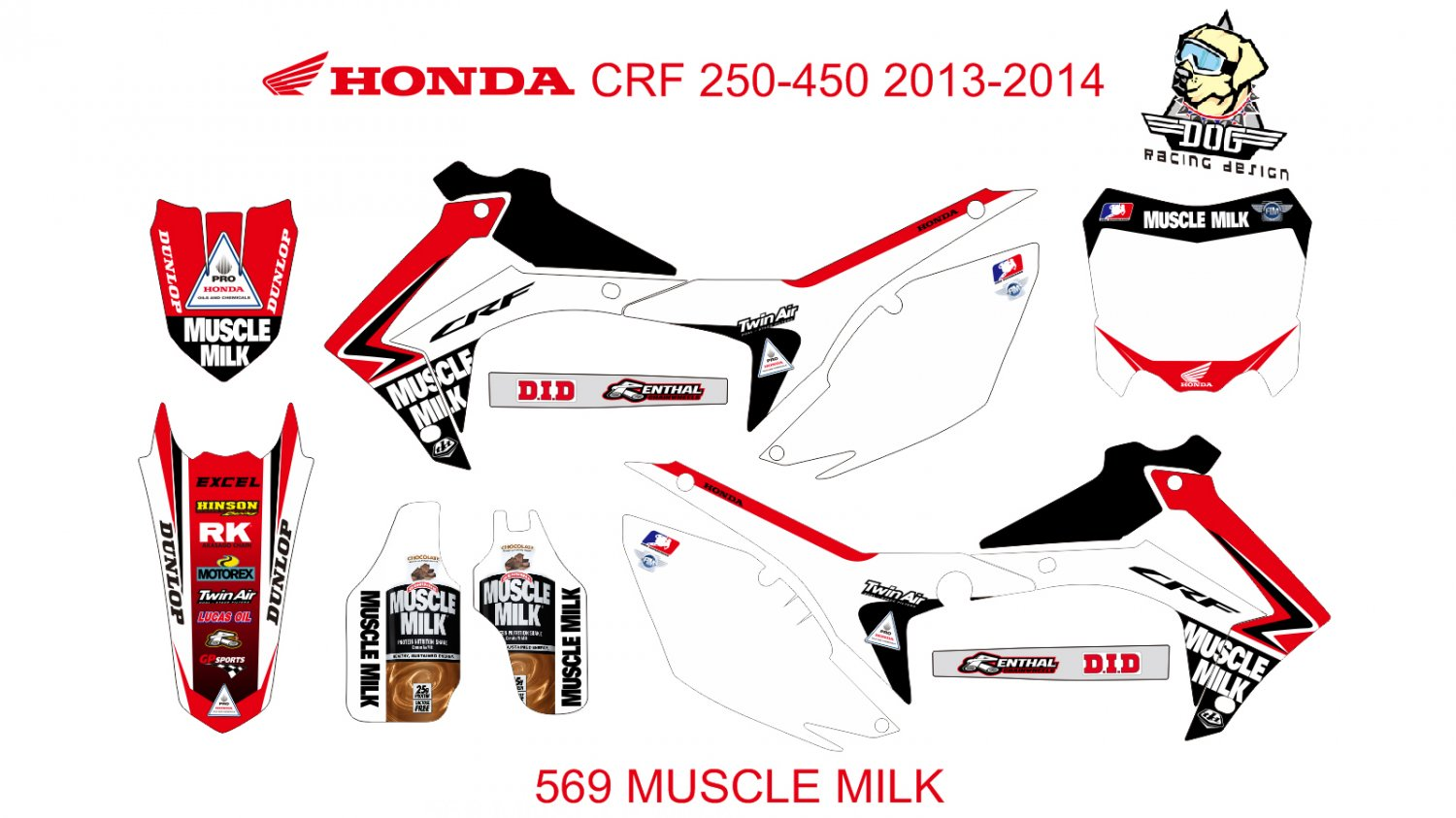 HONDA CRF 250-450 2013-2014 GRAPHIC DECAL KIT CODE.569