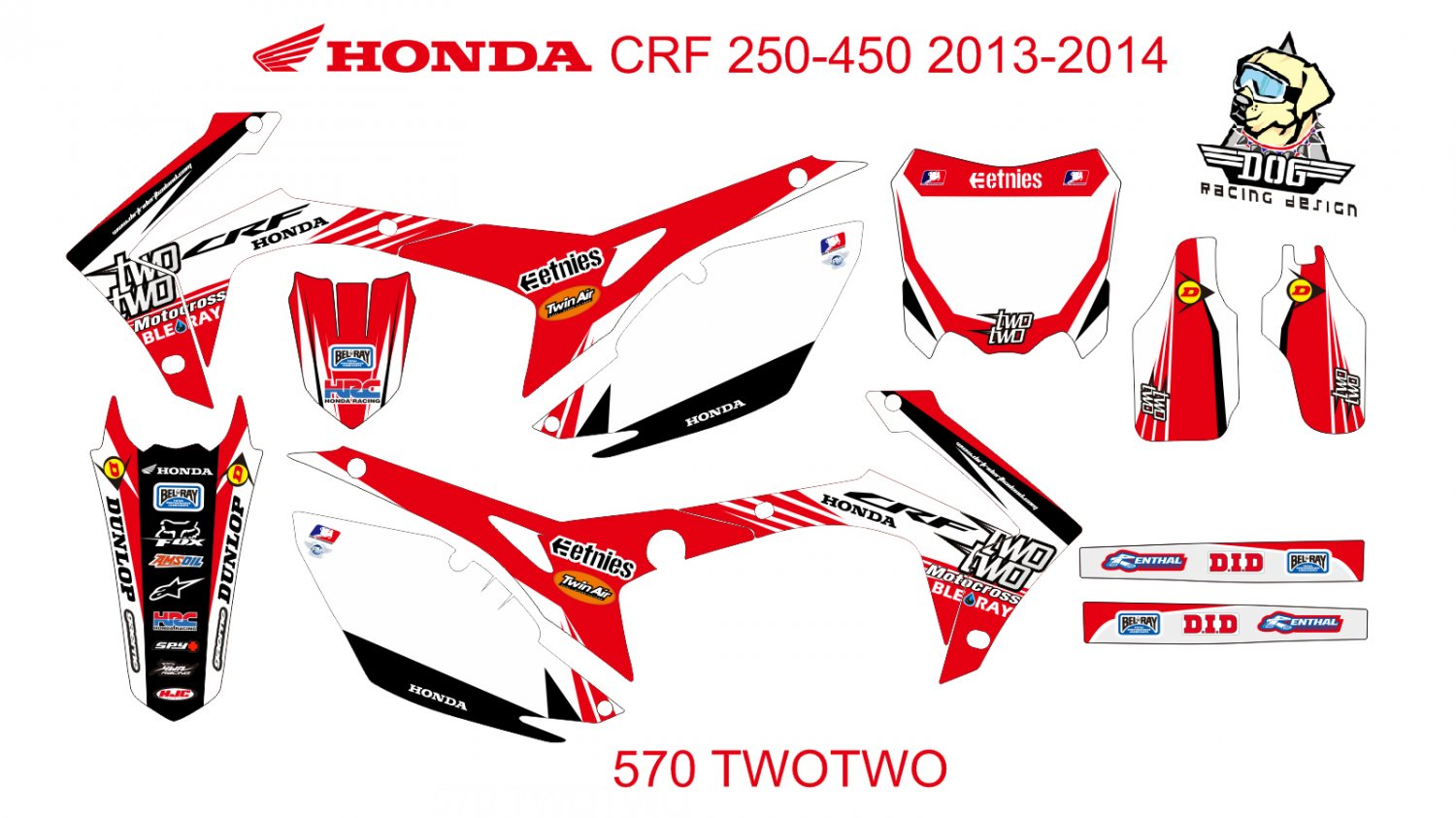 HONDA CRF 250-450 2013-2014 GRAPHIC DECAL KIT CODE.570