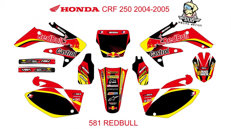 HONDA CRF 250 2004-2005 GRAPHIC DECAL KIT CODE.581