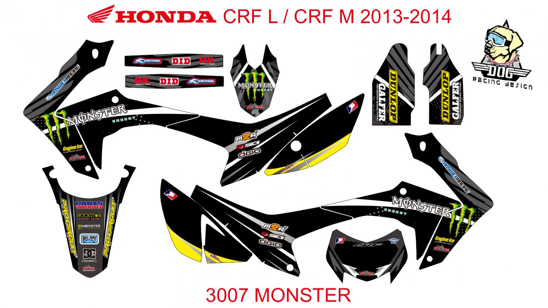 HONDA CRF L CRF M 2013-2014 GRAPHIC DECAL KIT CODE.3007