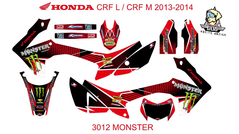 HONDA CRF L CRF M 2013-2014 GRAPHIC DECAL KIT CODE.3012