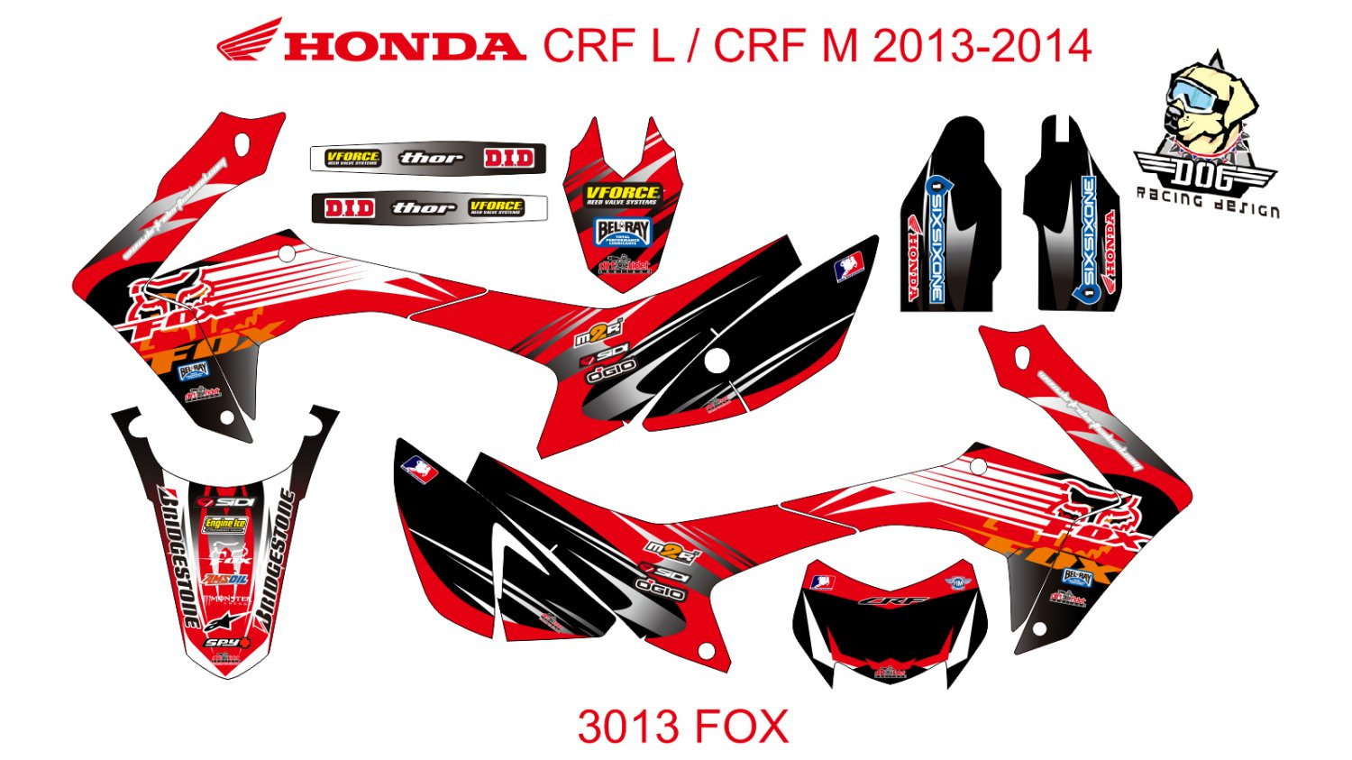 HONDA CRF L CRF M 2013-2014 GRAPHIC DECAL KIT CODE.3013