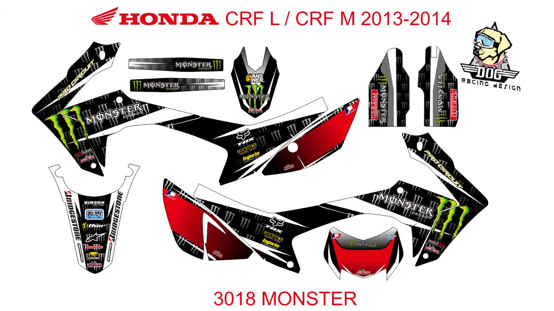 HONDA CRF L CRF M 2013-2014 GRAPHIC DECAL KIT CODE.3018