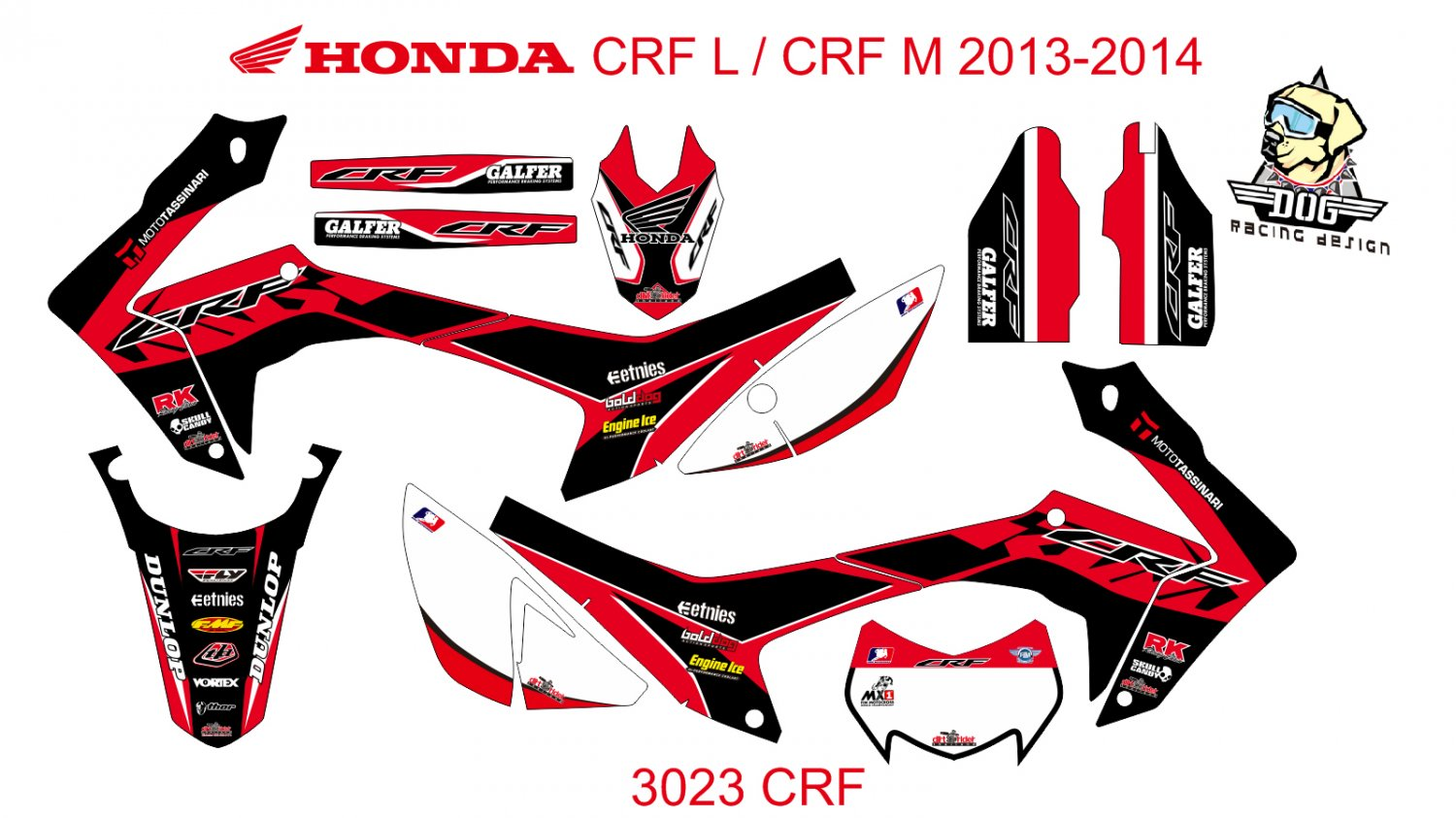 HONDA CRF L CRF M 2013-2014 GRAPHIC DECAL KIT CODE.3023