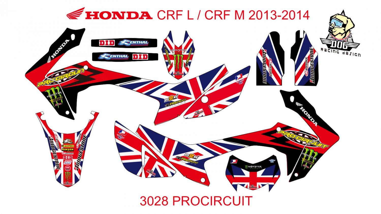 HONDA CRF L CRF M 2013-2014 GRAPHIC DECAL KIT CODE.3028