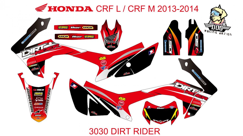HONDA CRF L CRF M 2013-2014 GRAPHIC DECAL KIT CODE.3030