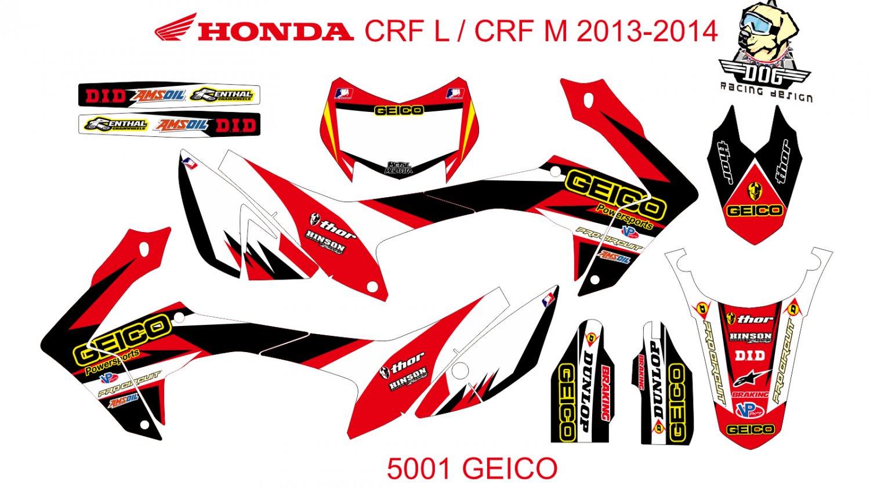HONDA CRF L CRF M 2013-2014 GRAPHIC DECAL KIT CODE.5001