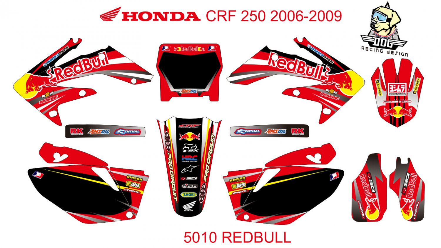 HONDA CRF 250 2006-2009 GRAPHIC DECAL KIT CODE.5010