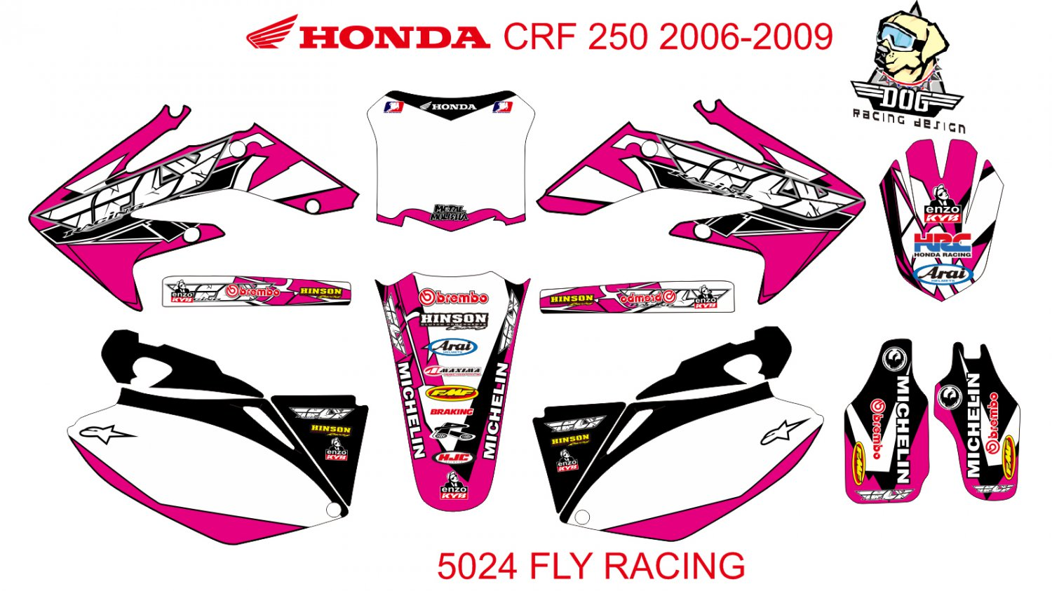 HONDA CRF 250 2006-2009 GRAPHIC DECAL KIT CODE.5024