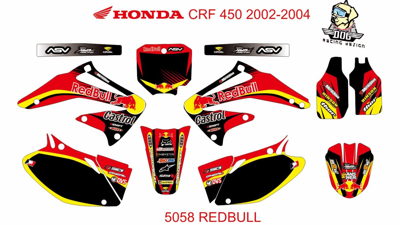 HONDA CRF 450 2002-2004 GRAPHIC DECAL KIT CODE.5058