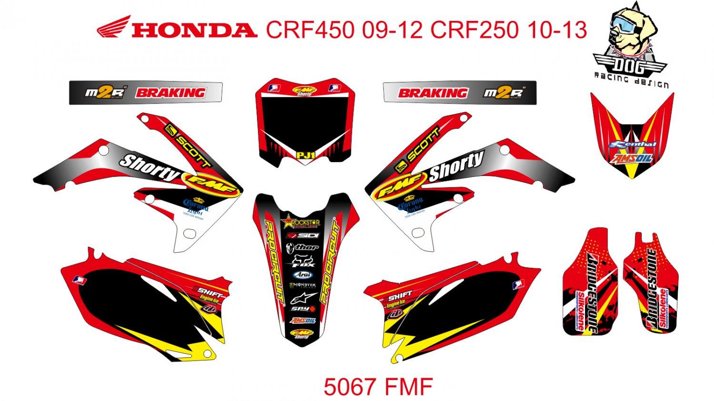 HONDA CRF 450 2009-2012 CRF 250 2010-2013 GRAPHIC DECAL KIT CODE.5067