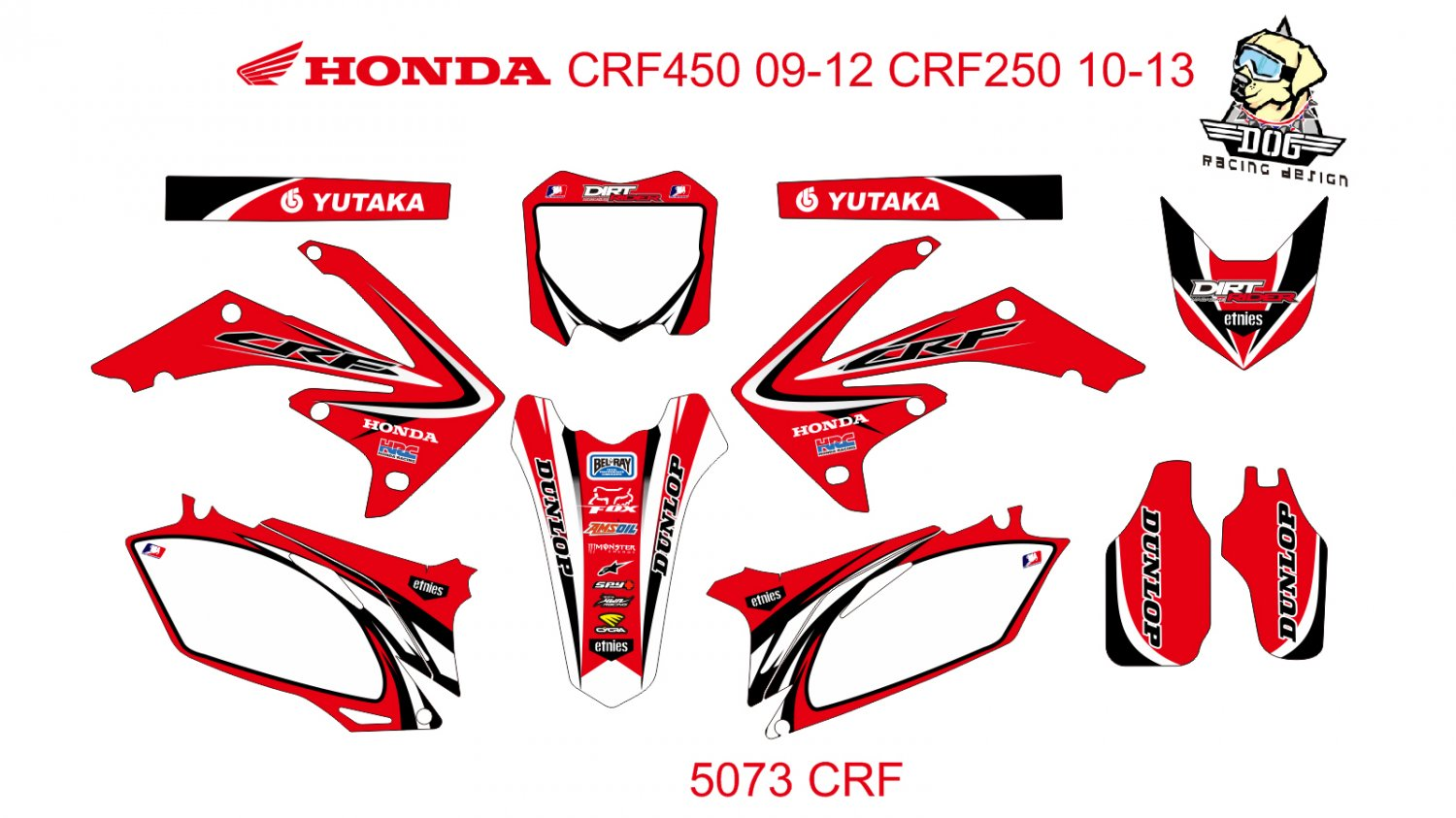 HONDA CRF 450 2009-2012 CRF 250 2010-2013 GRAPHIC DECAL KIT CODE.5073