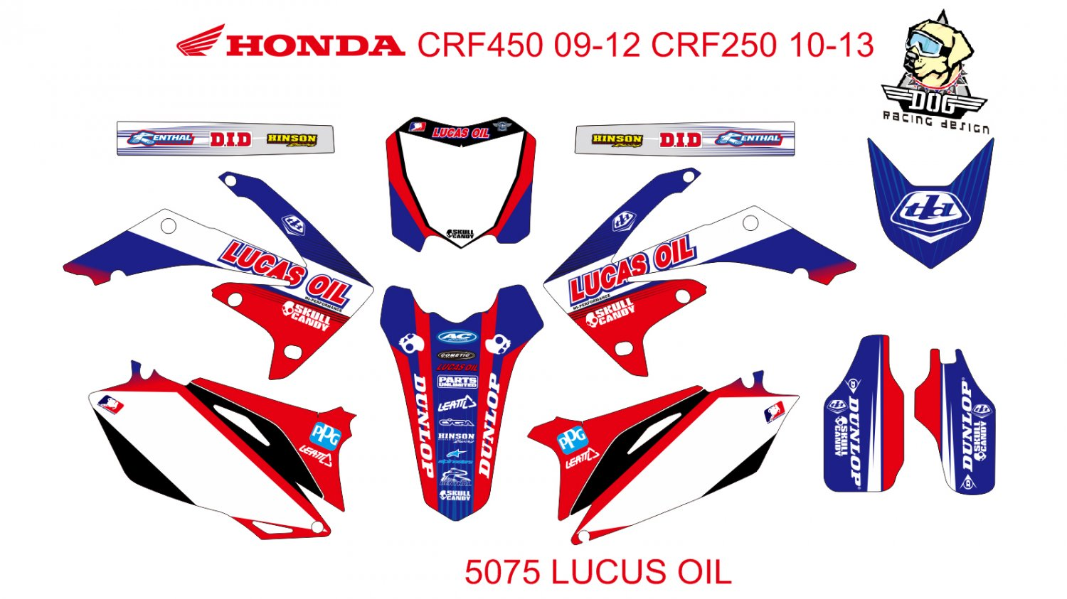 HONDA CRF 450 2009-2012 CRF 250 2010-2013 GRAPHIC DECAL KIT CODE.5075