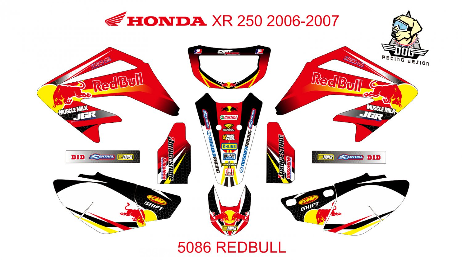 HONDA XR 250 2006-2007 GRAPHIC DECAL KIT CODE.5086