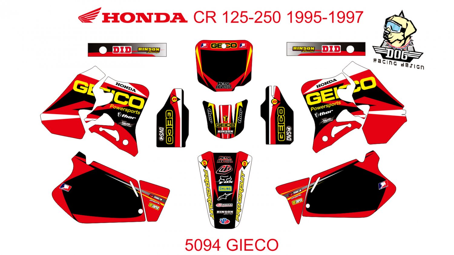 HONDA CR 125-250 1995-1997 GRAPHIC DECAL KIT CODE.5094