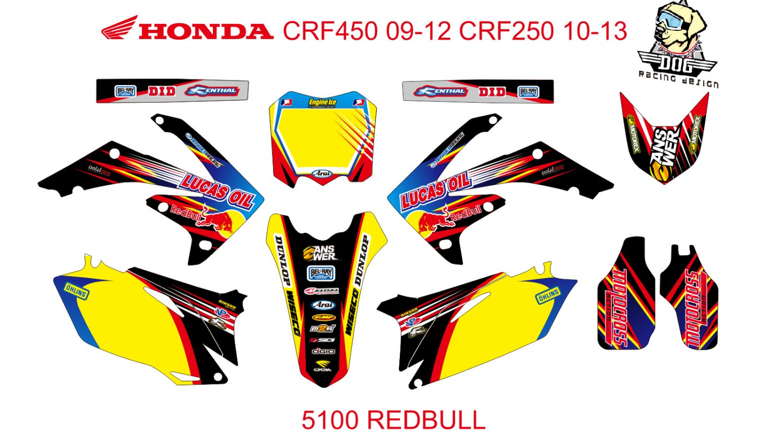 HONDA CRF 250 2010-2013 CRF 450 2009-2012 GRAPHIC DECAL KIT CODE.5100