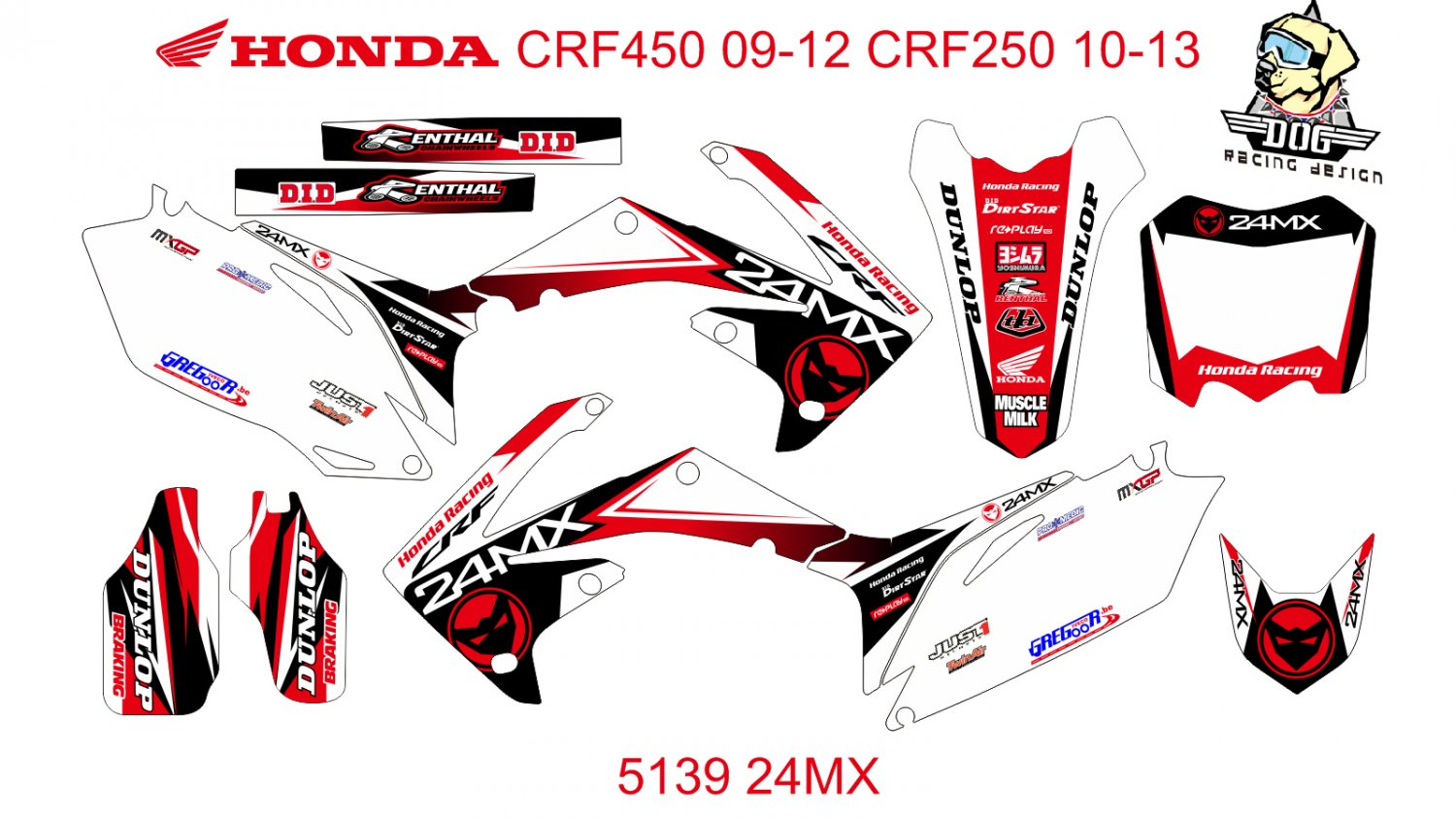 HONDA CRF 250 2010-2013 CRF 450 2009-2012 GRAPHIC DECAL KIT CODE.5139