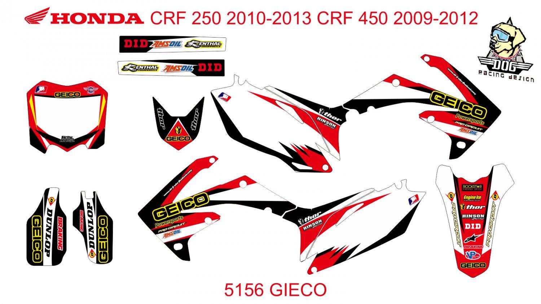 HONDA CRF250 2010-2013 CRF450 2009-2012 GRAPHIC DECAL KIT CODE.5156