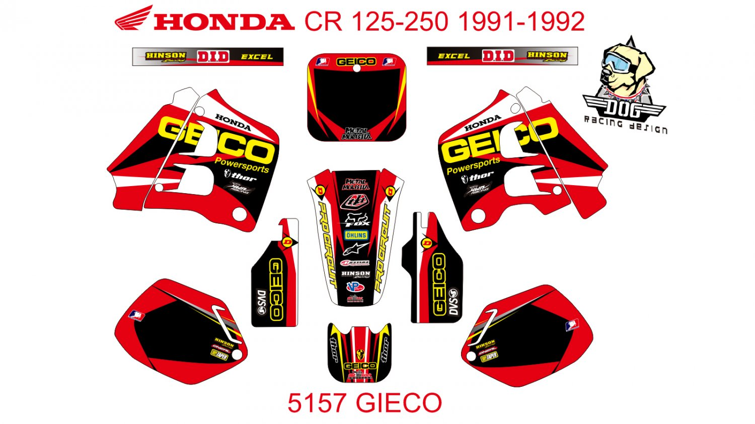 HONDA CR 125-250 1991-1992 GRAPHIC DECAL KIT CODE.5157