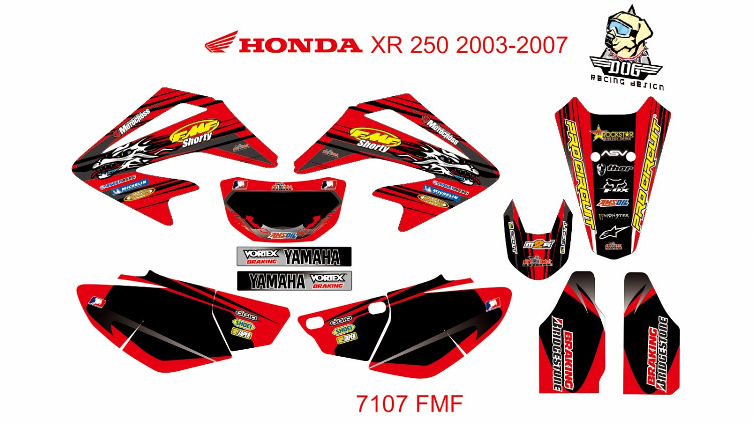 HONDA XR 250 2003-2007 GRAPHIC DECAL KIT CODE.7107