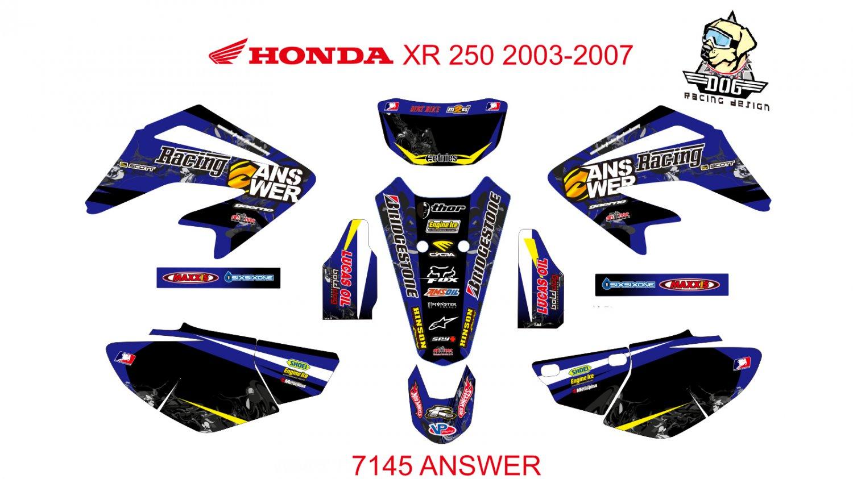 HONDA XR 250 2003-2007 GRAPHIC DECAL KIT CODE.7145