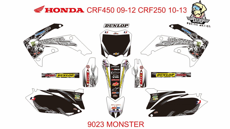 HONDA CRF 450 2009-2012 CRF 250 2010-2013 DECAL KIT CODE.9023