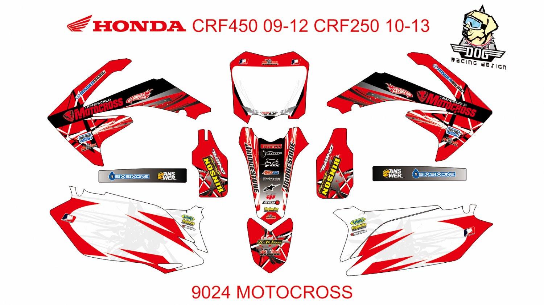 HONDA CRF 450 2009-2012 CRF 250 2010-2013 DECAL KIT CODE.9024