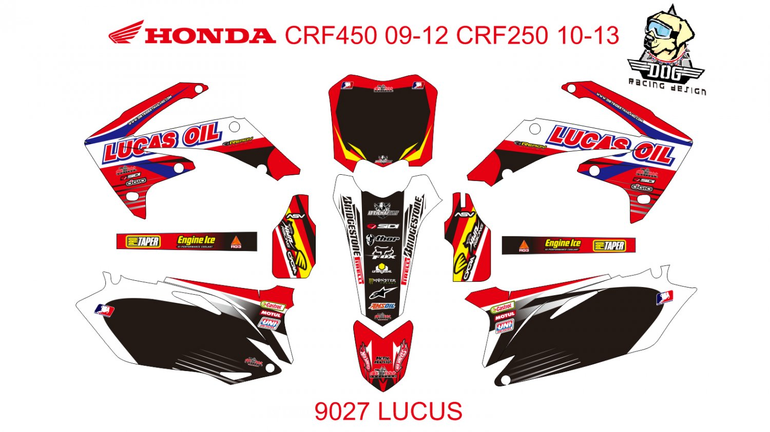 HONDA CRF 450 2009-2012 CRF 250 2010-2013 DECAL KIT CODE.9027