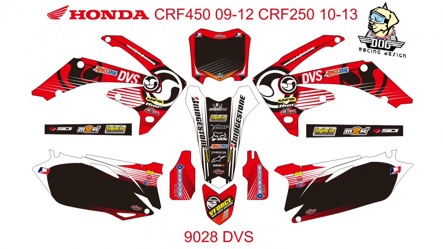 HONDA CRF 450 2009-2012 CRF 250 2010-2013 DECAL KIT CODE.9028