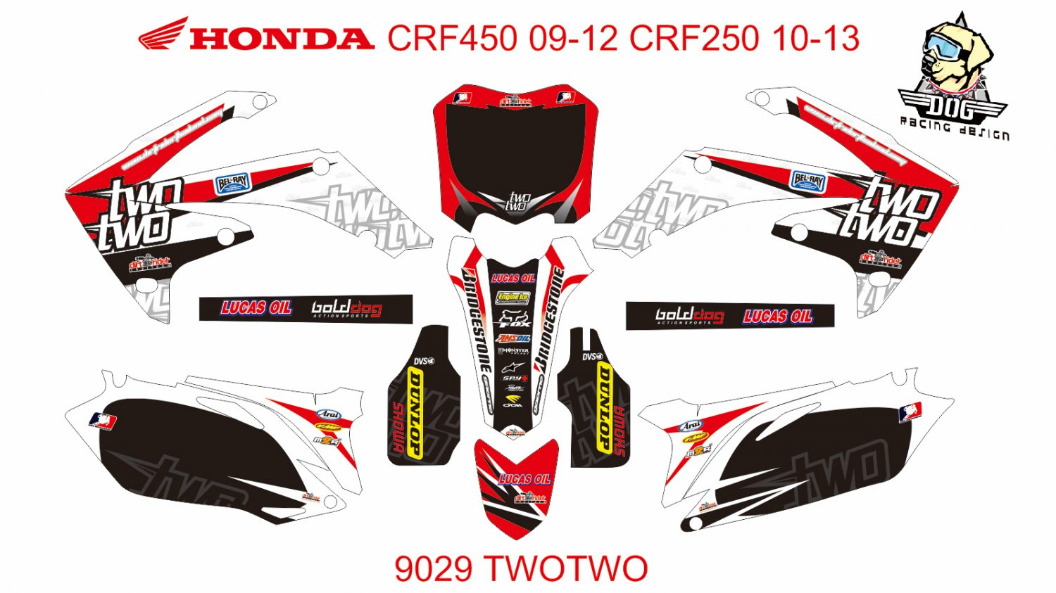 HONDA CRF 450 2009-2012 CRF 250 2010-2013 DECAL KIT CODE.9029