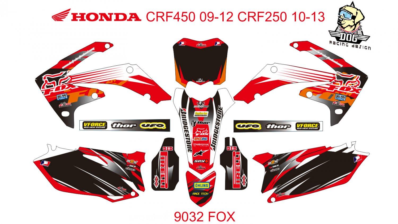 HONDA CRF 450 2009-2012 CRF 250 2010-2013 DECAL KIT CODE.9032