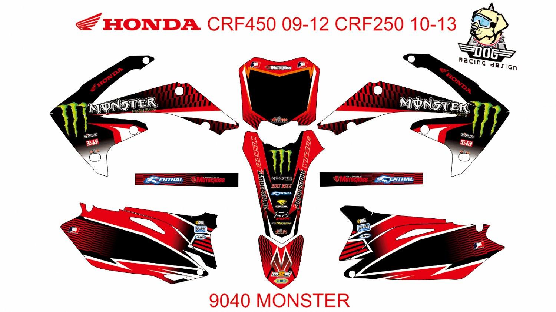 HONDA CRF 450 2009-2012 CRF 250 2010-2013 DECAL KIT CODE.9040
