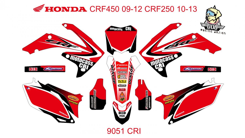 HONDA CRF 450 2009-2012 CRF 250 2010-2013 DECAL KIT CODE.9051