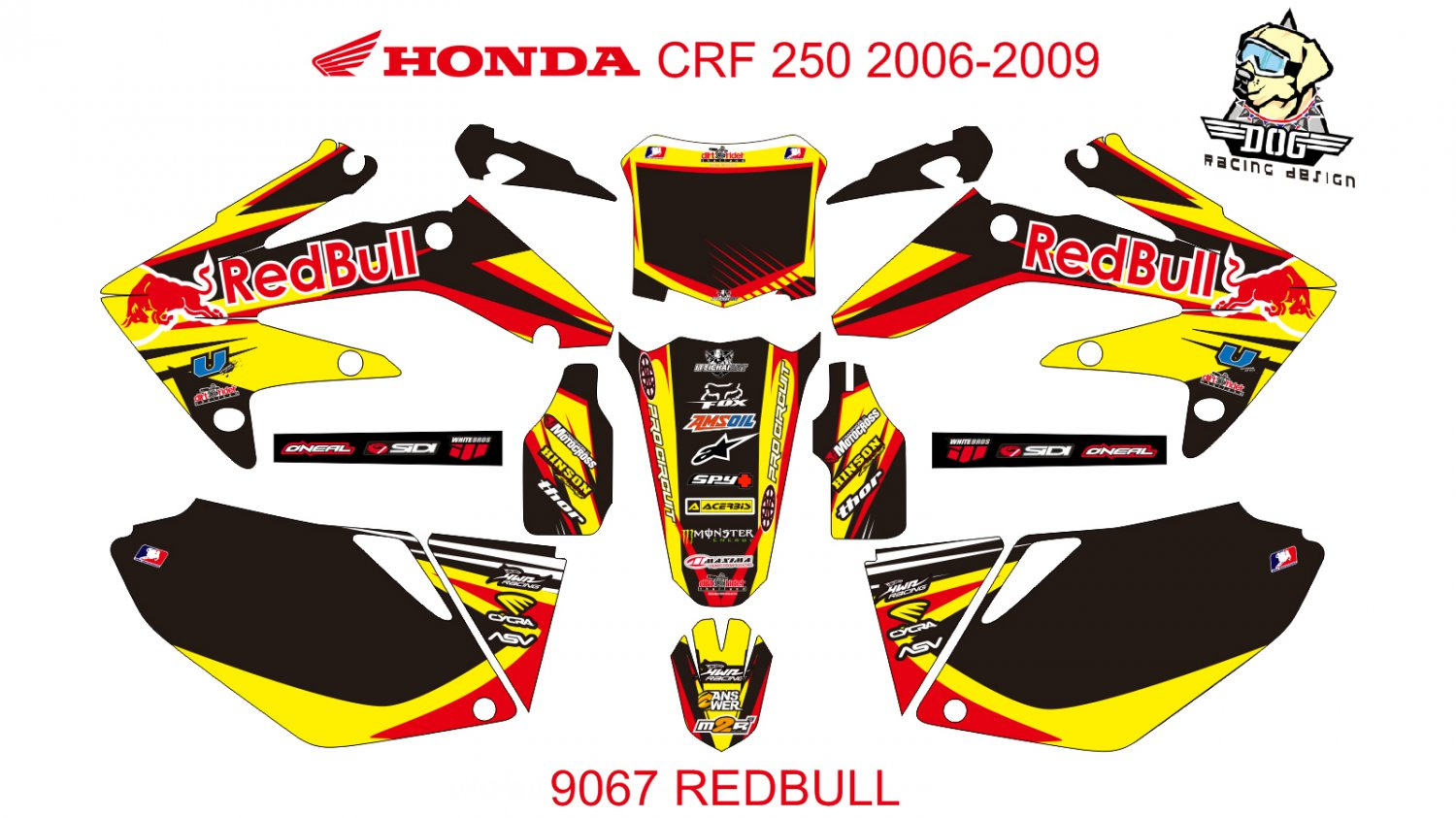 HONDA CRF 250 2006-2009 GRAPHIC DECAL KIT CODE.9067