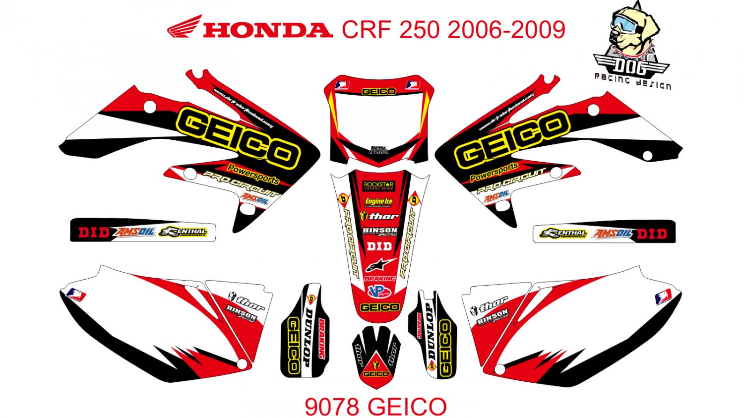 HONDA CRF 250 2006-2009 GRAPHIC DECAL KIT CODE.9078