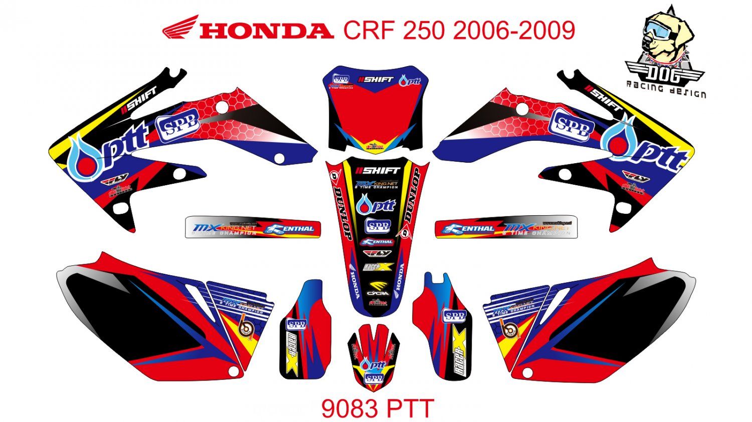 HONDA CRF 250 2006-2009 GRAPHIC DECAL KIT CODE.9083