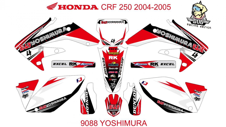 HONDA CRF 250 2004-2005 GRAPHIC DECAL KIT CODE.9088