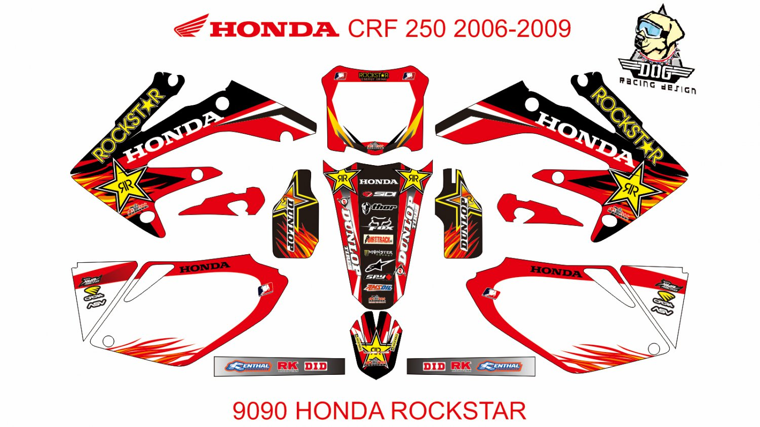 HONDA CRF 250 2006-2009 GRAPHIC DECAL KIT CODE.9090