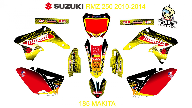 SUZUKI RMZ 250 2010-2014 GRAPHIC DECAL KIT CODE.185